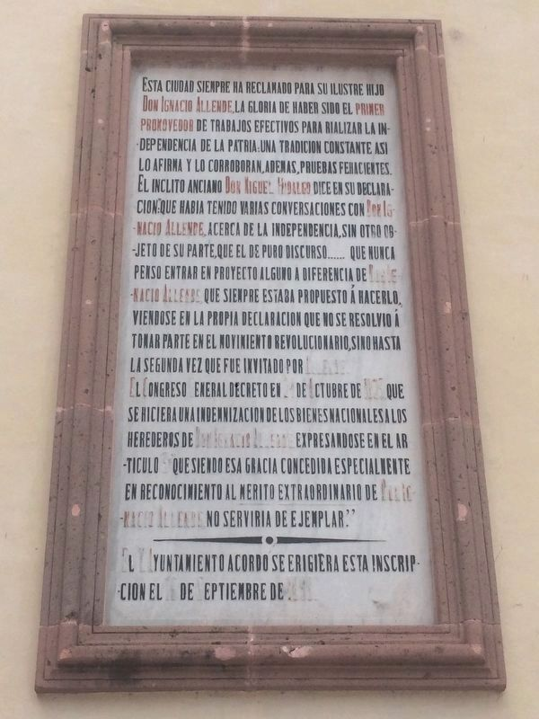 Additional marker at the Birthplace of Ignacio Allende image. Click for full size.
