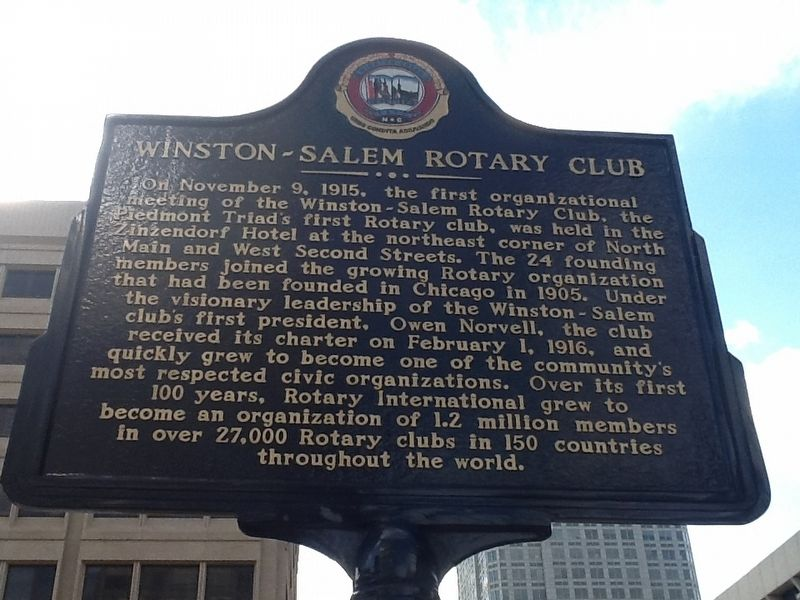 Winston-Salem Rotary Club Marker image. Click for full size.