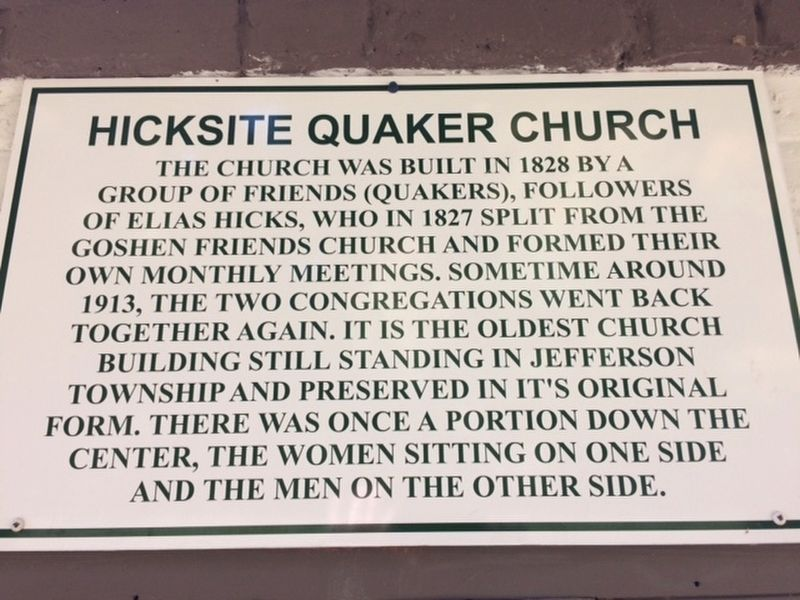 Hicksite Quaker Church Marker image. Click for full size.