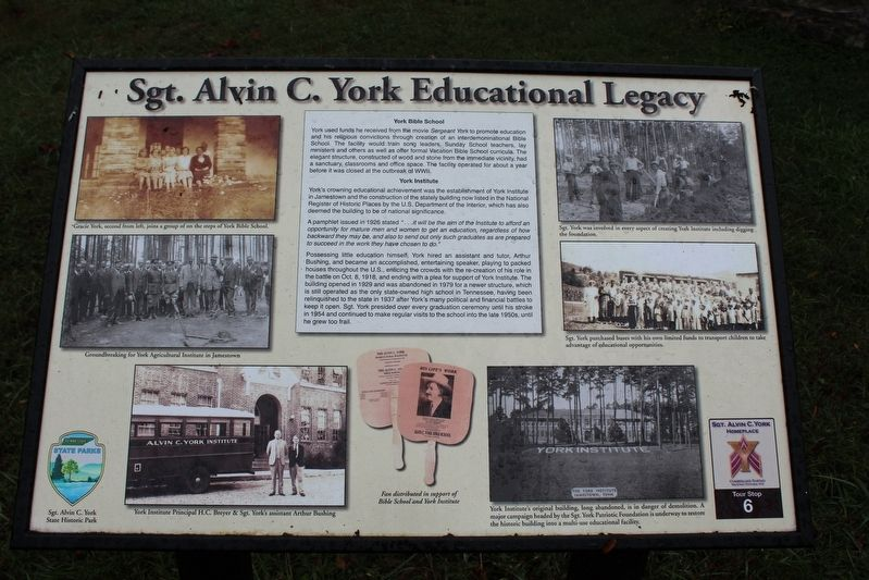 Sgt. Alvin C. York Educational Legacy Marker image. Click for full size.