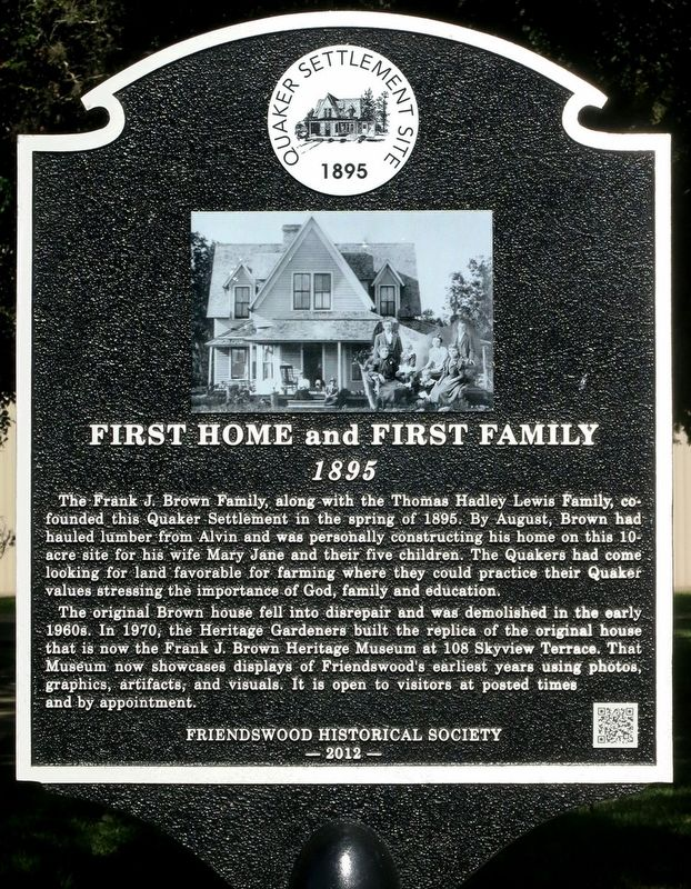 First Home and First Family Marker image. Click for full size.