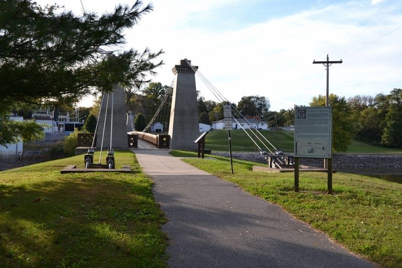 General Dean Suspension Bridge Display and Goshen Road Markers image. Click for full size.