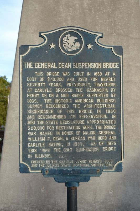 The General Dean Suspension Bridge Marker image. Click for full size.