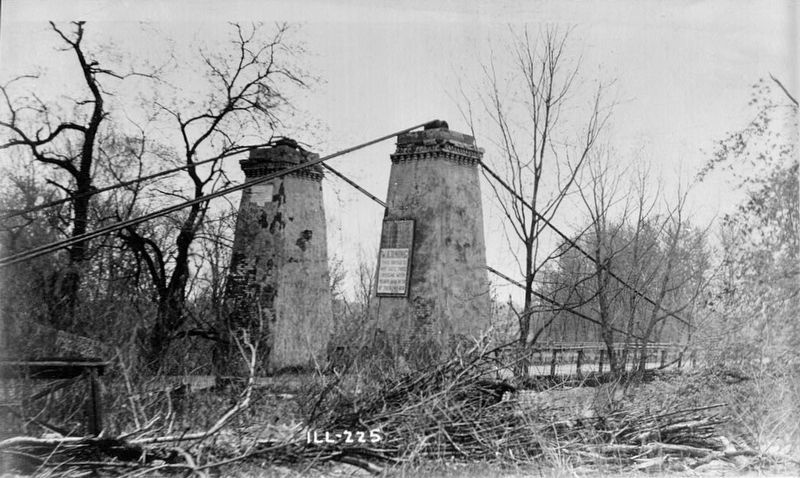 <i>BRIDGE PYLONS - EAST END - Suspension Bridge, Spanning Kaskaskia River, Carlyle...</i> image. Click for full size.
