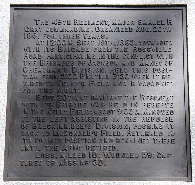 49th Ohio Infantry Marker image. Click for full size.