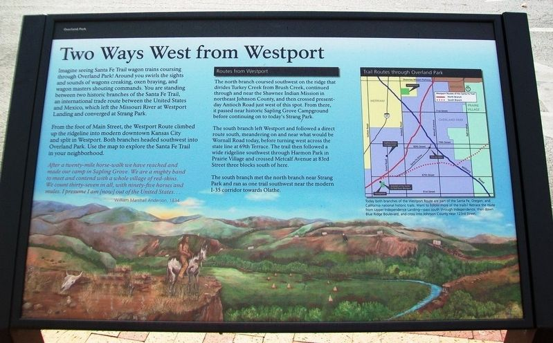 Two Ways West from Westport Historical Marker