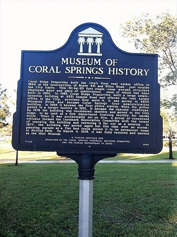 Museum of Coral Springs History Marker image. Click for full size.