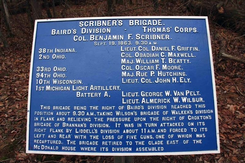 Scribner's Brigade Marker image. Click for full size.