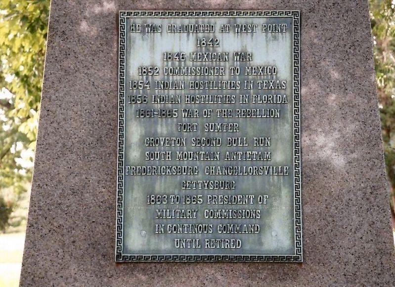 Abner Doubleday-close up of plaque on grave marker image. Click for full size.