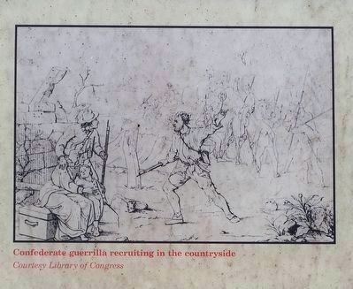 Confederate guerrilla recruiting in the countryside image. Click for full size.