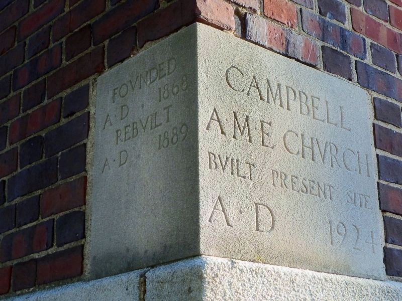 Campbell A. M. E. Church Cornerstone image. Click for full size.