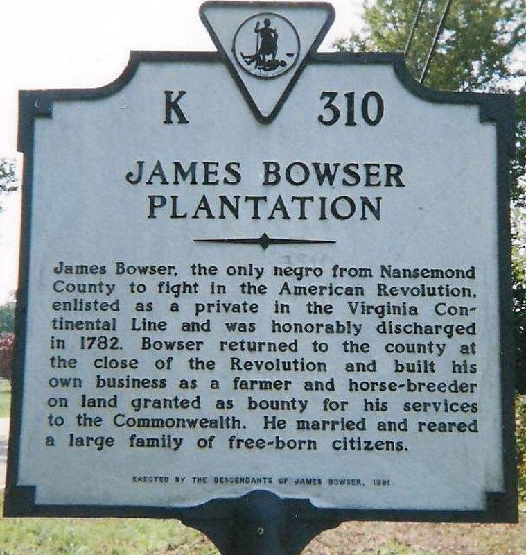 James Bowser Plantation Historical Marker