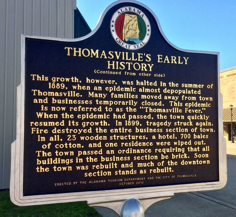 Thomasville's Early History Marker (Side 2) image, Click for more information