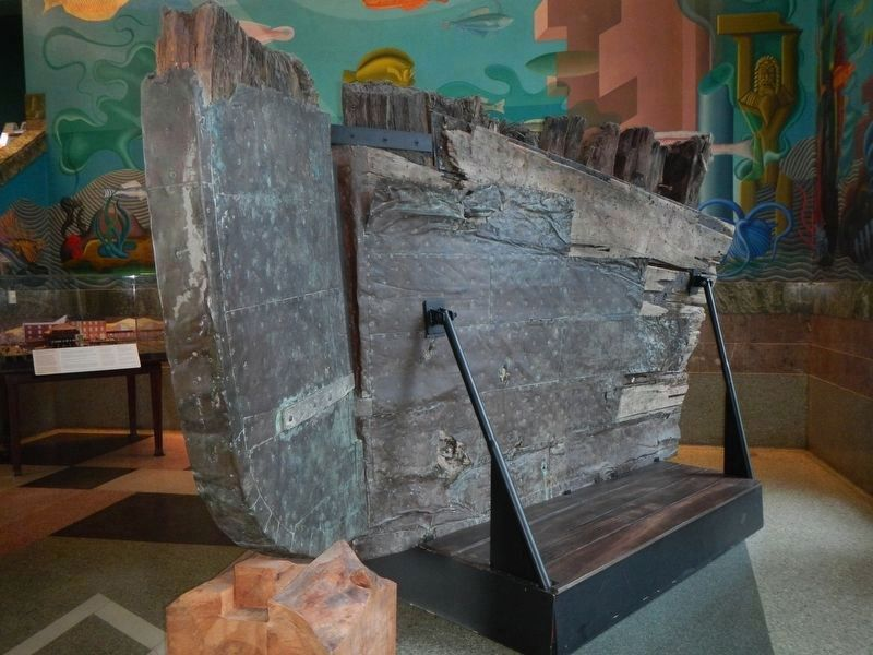 Remains of the ship Niantic's hull at the San Francisco Maritime Museum image. Click for full size.