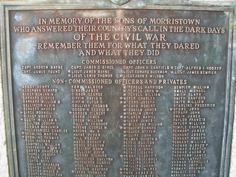 Civil War Memorial Honor Roll Detail image. Click for full size.