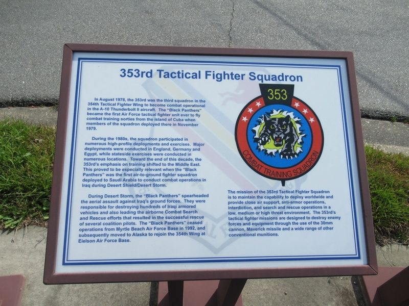 353rd Tactical Fighter Squadron Marker image, Click for more information