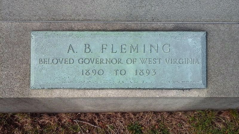 A. B. Fleming name plate at the base of his obilisk image. Click for full size.