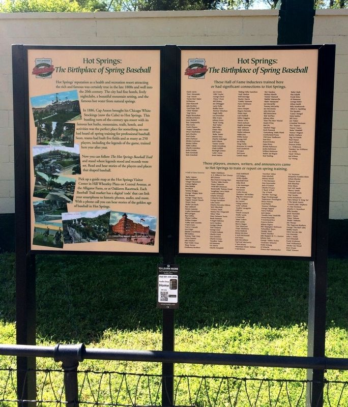 Hot Springs: The Birthplace of Spring Baseball Marker image. Click for full size.