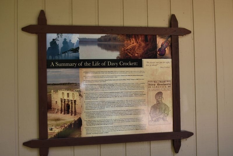 A Summary Of The Life Of Davy Crockett Historical Marker