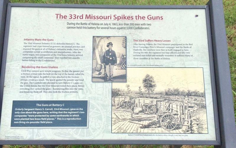 The 33rd Missouri Spikes the Guns Historical Marker