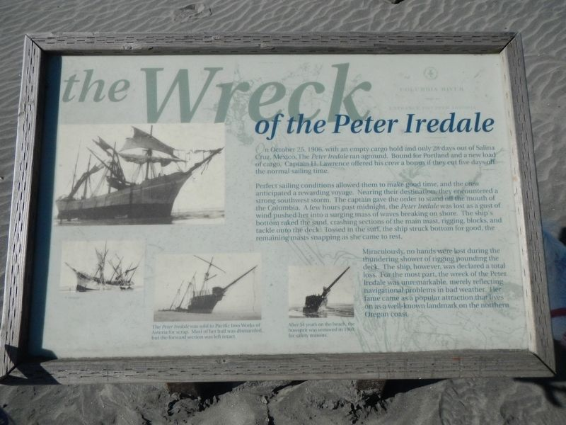 The Wreck of the Peter Iredale Historical Marker