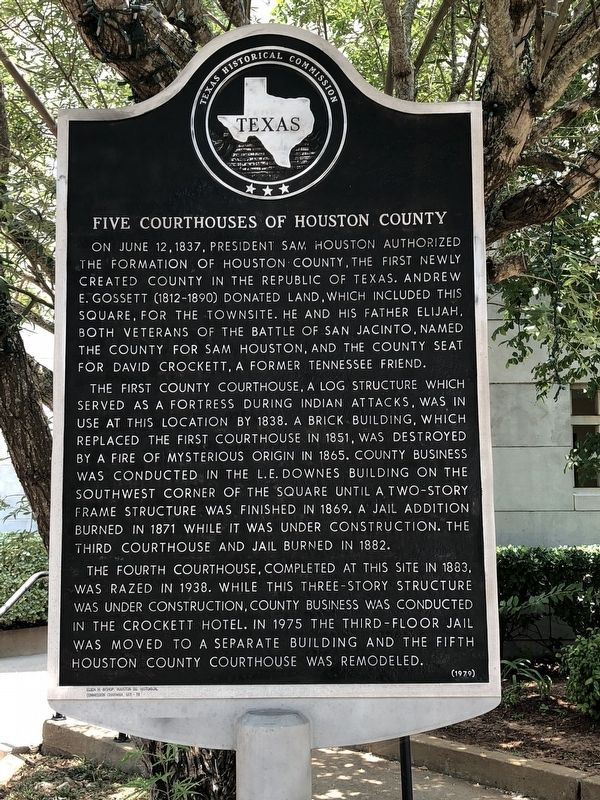 Five Courthouses of Houston County Historical Marker