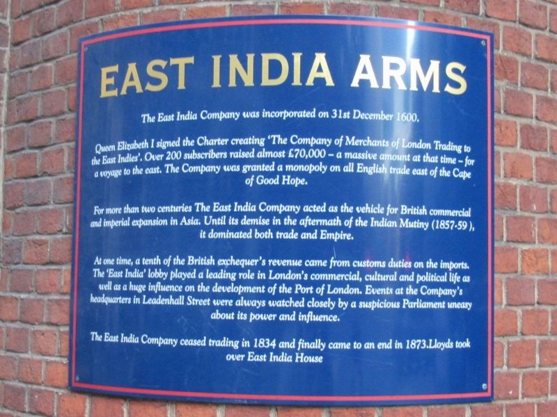 East India Arms Historical Marker