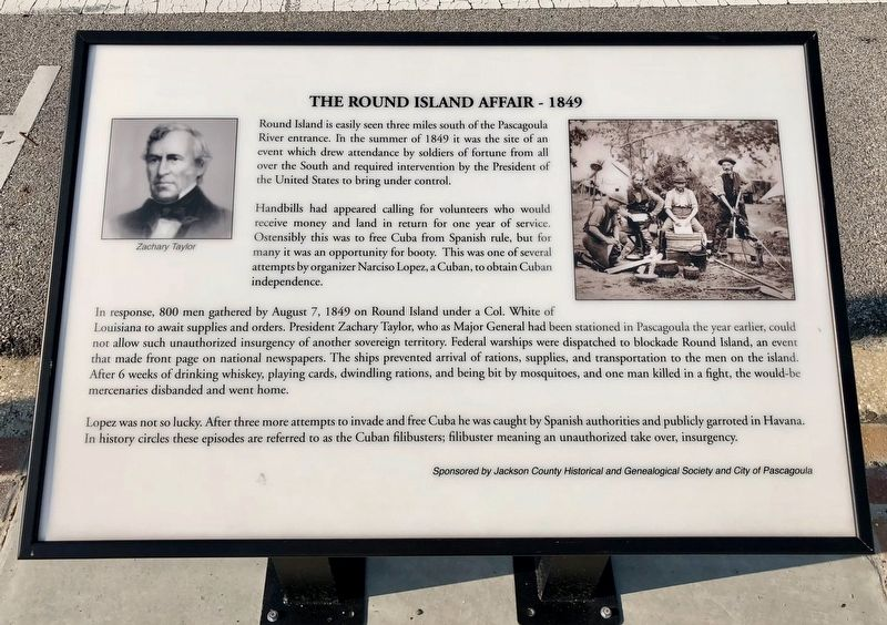 The Round Island Affair - 1849 Historical Marker