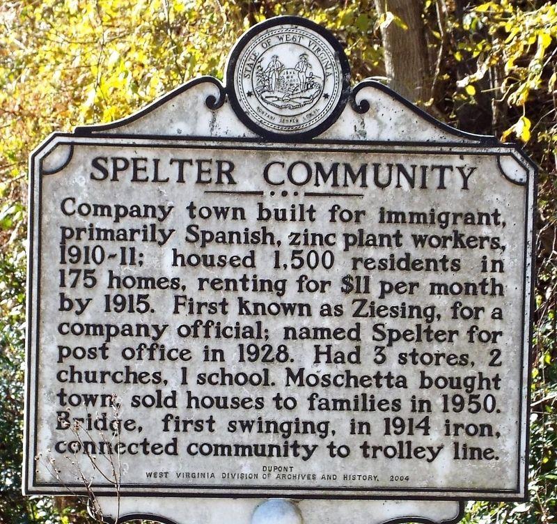 Spelter Community / Spelter Zinc Plant Historical Marker