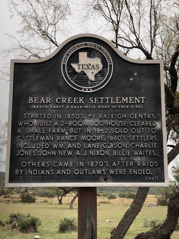 Bear Creek Settlement Historical Marker
