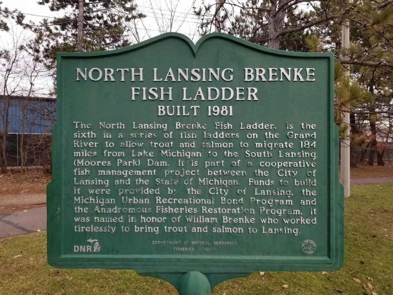 North Lansing Brenke Fish Ladder Historical Marker