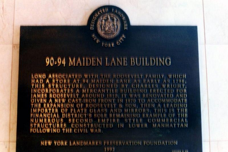 90-94 Maiden Lane Historical Marker