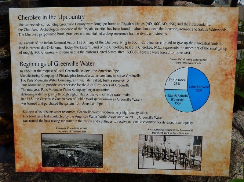 Cherokee in the Upcountry / Beginnings of Greenville Water