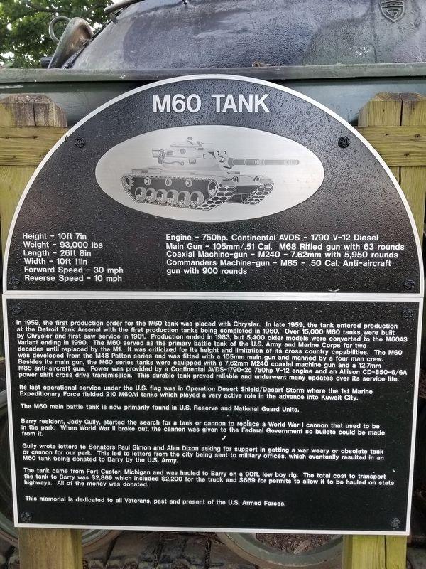 M60 Tank, a War Memorial
