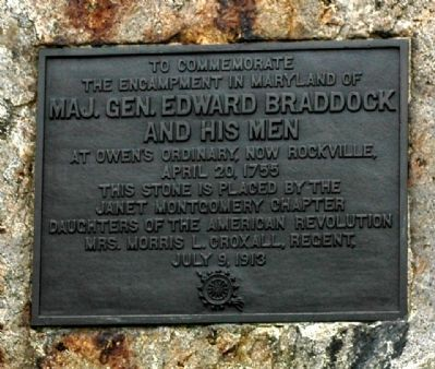Maj. Gen. Edward Braddock and His Men Plaque image. Click for full size.