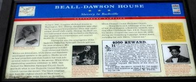 Beall-Dawson House - Slavery in Rockville Marker image. Click for full size.