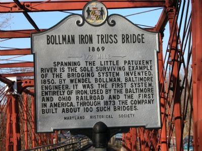 Bollman Iron Truss Bridge Marker image. Click for full size.
