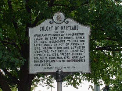 Colony of Maryland Marker image. Click for full size.