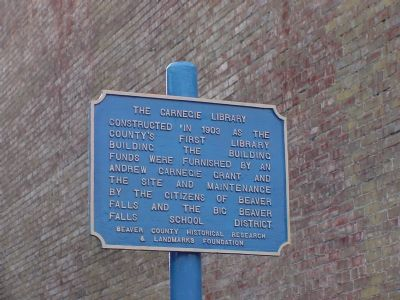 The Carnegie Library Marker image. Click for full size.