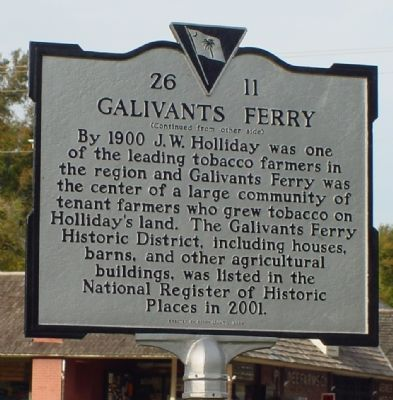 Galivants Ferry Marker (Back) image. Click for full size.