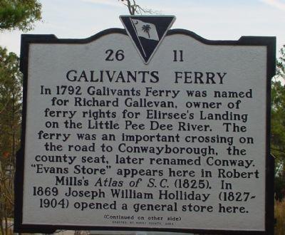 Galivants Ferry Marker (Front) image. Click for full size.