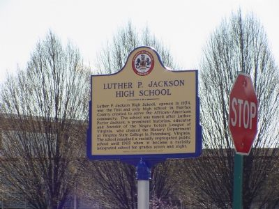 Luther P. Jackson High School Marker image. Click for full size.