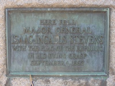 Plaque on the Stevens Monument image. Click for full size.