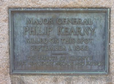 Plaque on the Kearny Monument image. Click for full size.