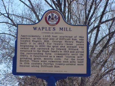 Waple's Mill Marker image. Click for full size.