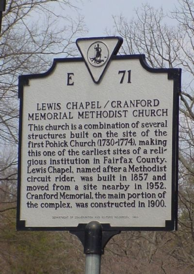 Lewis Chapel / Cranford Memorial Methodist Church Marker image. Click for full size.