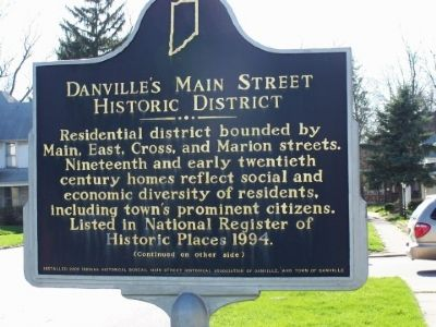 Side one of Danville's Main Street Historic District Marker image. Click for full size.