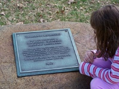 A plaque designating Tippecanoe Battlefield as a National Historic Landmark. image. Click for full size.