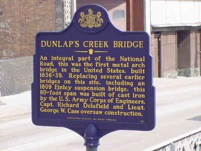 Dunlap's Creek Bridge Marker image. Click for full size.