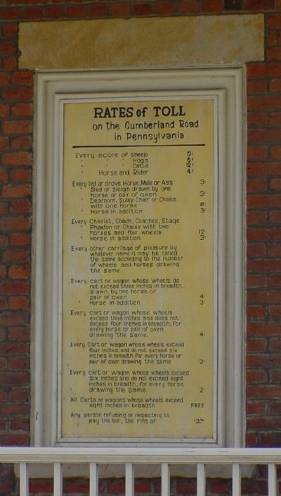 Rates of Toll on the Cumberland Road image. Click for full size.